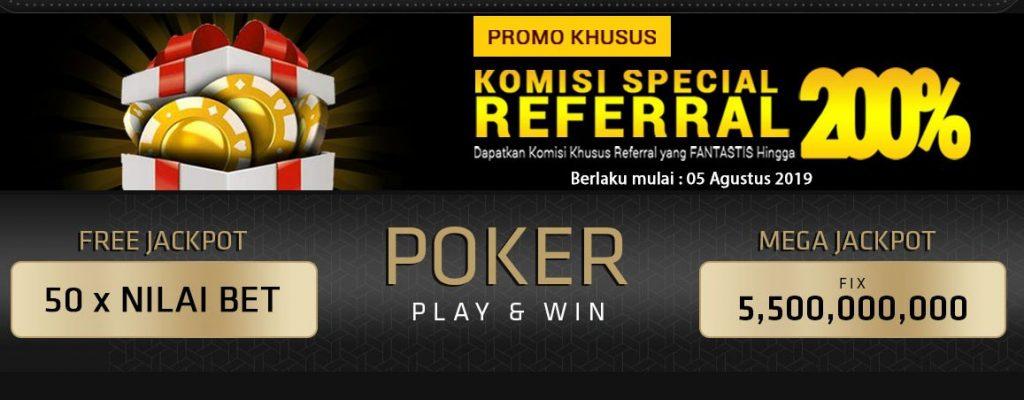Rincian Komisi Spesial 200% Referral Pokerace99